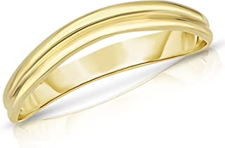 10k Fine Gold Comfort Fit Curved Double Wave Thumb Ring (3mm)