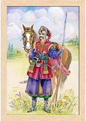 ArtzFolio Ukrainian Cossack Horse Paper Poster Natural Brown Frame | Top Acrylic Glass 9inch x 13inch (22.9cms x 33cms)