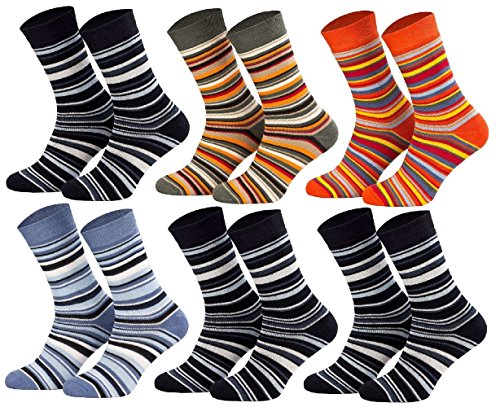 Tobeni 6 Paar Kindersocken Ringel mit Frotteefutter Thermo Socken bunt grün orange blau Farbe 1x Jeans 1x Khaki 1x Terrakotta 3x Marine Grösse 27-30