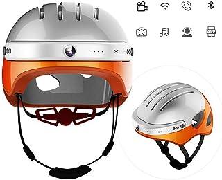 BLLJQ Casco de Ciclismo con Altavoz Bluetooth Casco de Bicicleta de Montaña con Cámara Frontal y Altavoz Bluetooth para Ciclismo Montaje SkateboardBeigeM