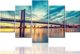 Native American Art Philadelphia Cityscape Paintings The Benjamin Franklin Bridge Pictures USA Modern Artwork 5 Piece Canvas Home Decorations for Living Room Giclee Framed Ready to Hang(60''Wx32''H)