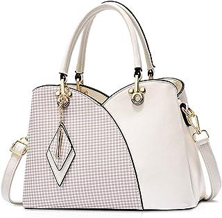 NICOLE & DORIS Elegante Damen Handtasche mit Mehreren Taschen Schultertaschen aus PU-Leder Henkeltaschen Karierte Umhänget...