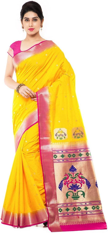 Varkala Silk Sarees with Blouse Piece (NYJB5005GDRN_Yellow_Free Size)