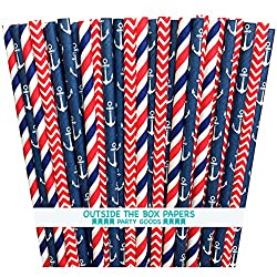 Red White and Blue Stripes Straws
