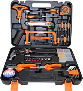 Gluckluz Household Tool Kits 82 Pcs Home Repair Maintaining DIY Hand Toolbox Portable Carbon Steel Hardware for Car Home F...