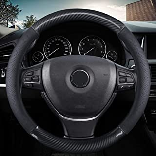 KAFEEK Classic Carbon Fiber Steering Wheel Cover, Universal 15 inch, Breathable Microfiber Leather, Black