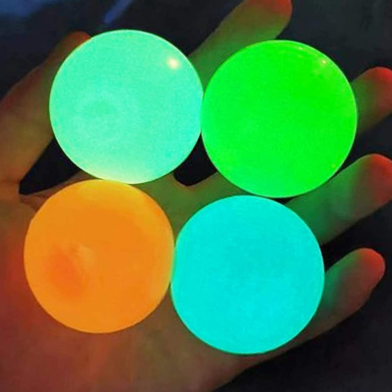 Glow Stress Relief Balls Squishy Throw Ball for Kids KAZOLEN 4Pcs Ceiling Sticky Balls