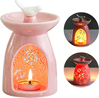WANYA Ceramic Tea Light Holder, Aromatherapy Essential Oil Burner, Wax Warmer Great Decoration for Living Room, Balcony, Patio, Porch and Garden (Pink)
