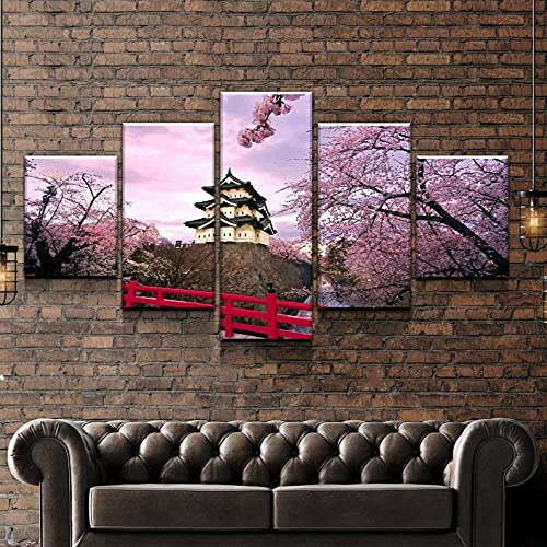 GHYTR Leinwanddrucke Kreatives Geschenk 5 Stück Leinwand Bilder Hd Gedruckt Poster Abstrakt Gerahmter Cherry Blossom Tree Moderne Wandbilder XXL Wohnzimmer Wohnkultur
