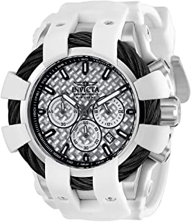 Men's Bolt Stainless Steel Quartz Watch with Silicone Strap, White, 28 (Model: 23857)