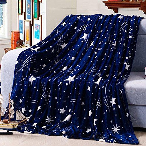ZHH Star Throw Blanket Navy Blue Soft Flannel Baby Blanket, Warm...