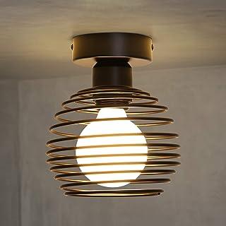 ZMH lámpara de techo vintage en negro con portalámparas E27 Max. 60 vatios, Araña industrial Ø160mm pantalla redonda de metal, perfecta para pasillo balcón cocina, sin bombilla