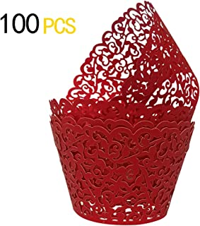 GOLF 100Pcs Christmas Cupcake Wrappers Artistic Bake Cake Paper Filigree Little Vine Lace Laser Cut Liner Baking Cup Wraps Muffin CaseTrays for Wedding Party Birthday Decoration (Red)