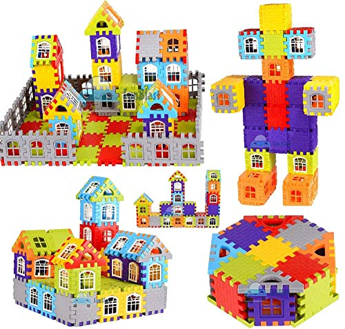 FunBlast Building Blocks for Kids, (72 Pieces Blocks) House Building Blocks with Windows, Block Game for Kids (Multicolor)