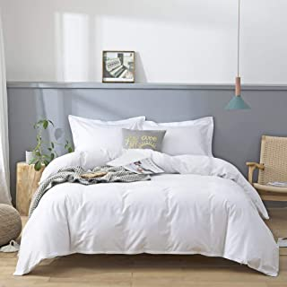 JSD 100% Cotton Duvet Cover Set King White 3 Piece Comforter Cover with Corner Ties Ultra Soft 300 TC Thread Count Cotton Hotel Luxury Bedding Set