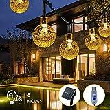 Guirlande Guinguette Solaire, FOCHEA 8M 8 Modes Guirlande Lumineuse avec 50 Boules Cristal LED, Connecteur USB Supplémentaire pour Décorative Intérieur et Extérieur, Jardin, Fête, Patio