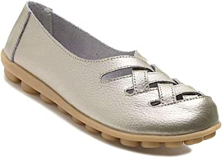 Women's Cowhide Leather Loafers Flats Sandals Slip-On