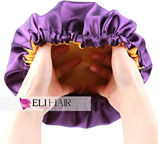 ELIHAIR Kids Satin Bonnet Sleeping Cap for Natural Hair Teens Toddler Child Baby Adjustable Satin Cap for Night Sleeping Reversible Double Layer Lavender/Yellow