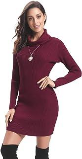Suéter con cuello redondo para mujer, Manga larga Cuello de tortuga Tejido Elasticidad Estirable Ajustado Vestido de una pieza Body Con Jerséis para mujer