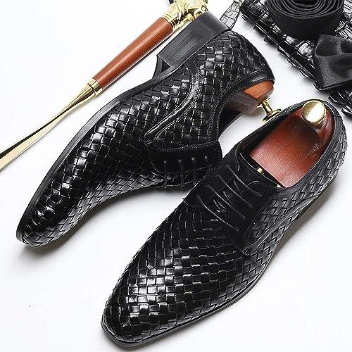 WEATLY zapatos de Vestir para hombres zapatos de Cuero de Gamuza Tejida para hombres de Negocios zapatos de Cuero