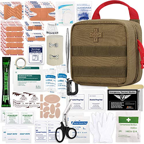 Everlit 180 Pieces Tactical First Aid Kit IFAK Molle EMT Pouch Outdoor Camping Emergency Kits for for Camping Boat Hunting Hiking Home Car Earthquake and Adventures