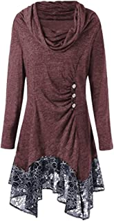Womens Long Sleeve Cowl Neck Asymmetrical Hemline Flowy Tunic Top, Boho Floral Blouse Casual Hoody Shirt