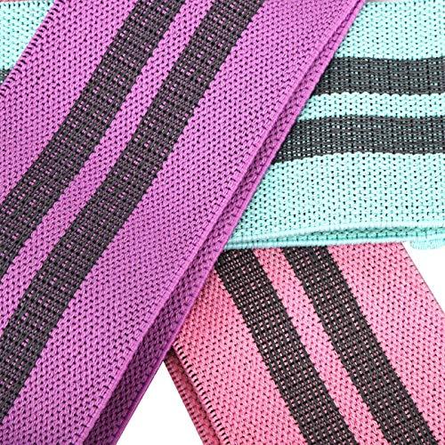 Lazo de la resistencia del cinturón elástico del entrenamiento 3pcs, bandas del ejercicio de las bandas de la sentadilla, lazo del estiramiento para el hogar