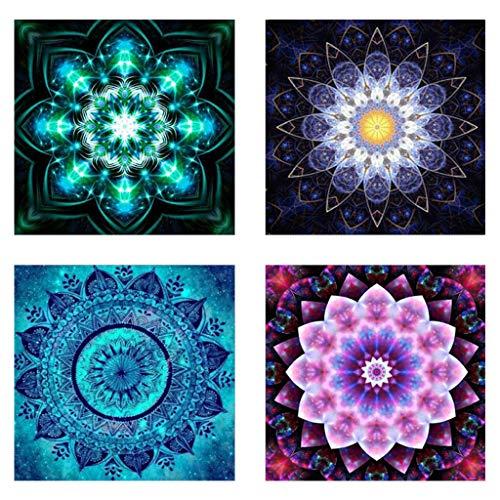 S-TROUBLE 4er Pack 5D Diamond Painting Set Dekorieren von Tischaufklebern für Schränke Strass Diamant Stickereien Bilder, Mandala Blumenmalerei (25X25CM / 9.8X9.8inch)