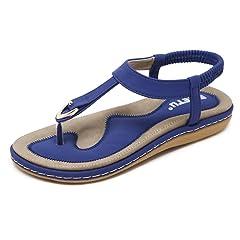 3916dbcefa19 JACKY LUYI Women Thong Flat Beach Sandals Summer Bohemian Fli .