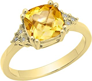 Dazzlingrock Collection 14K 8 MM Cushion Gemstone & Round White Diamond Ladies Bridal Engagement Ring, Yellow Gold