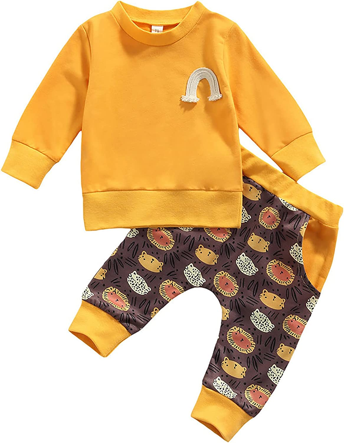 Toddler Baby Boy Girl Fall Outfit Long Sleeve Sweatshirt Tops + Pants Sweatsuit Kids 2Pcs Casual Clothes Set
