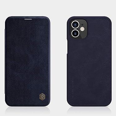"Nillkin Case for Apple iPhone 12 Mini (5.4"" Inch) Qin Genuine Classic Leather Flip Folio + Card Slot Blue Color"