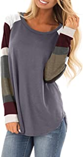 QACOHU Women's Ladies Long Sleeve Color Block Gray Tunics Sweatshirts Pullover Crew Neck T Shirts Tops Gray-L