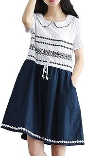 Ensasa Fashion ワンピース 森ガール 可愛い 大きめ 体型カバー丸襟 夏 綿麻 刺繍 半袖 丸襟 清楚系 膝丈 ナチュラル 柔らかい レディース ワンピース