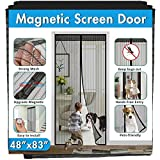 Magnetic Screen Door IKSTAR Double Instant Mesh Curtain with Full Frame Magic Tape Mesh Door Cover for Front Door and Home Outside Kids/Pets Walk Through Easily Fit Door Size Up to 46'x82' Max