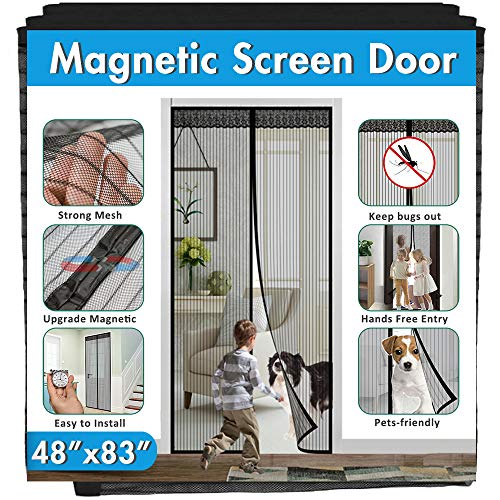 Magnetic Screen Door, IKSTAR Double Instant Mesh Curtain with Full Frame Magic Tape Mesh Door Cover for Front Door and Home Outside Kids Pets Walk Through Easily Fit Door Size Up to 46' x 82' Max