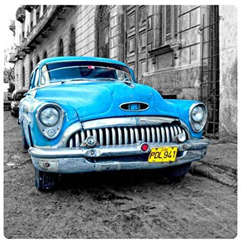 1art1 Oldtimer - Blue Car, Cuba Acrylglas-Bild 29 x 29 cm