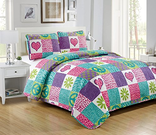 Mk Collection 2 Pc Bedspread Teens/Girls Pink Purple Teal Heart Flower Peace Sign Safari New