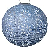 Allsop 31836 Home Soji Stella Boho LED Outdoor Solar Lantern, Handmade with Weather-Resistant UV Rated Tyvek Fabric, Stainless Steel Hardware, for Patio, Deck, Garden, 12X12