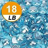 18 Pound Fire Glass Beads Fireglass Drops for Gas Fire Pit Fireplace Azure Blue Luster Reflective Decorative Glass Gems Rocks Pebbles Stone for Vase Fillers Fish Tank Aquarium Decoration Flat (Azure)