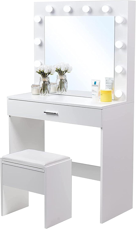 Oklahoma City Mall Elegenzo Vanity Set with Dressing Mirror trust Lighted Makeup