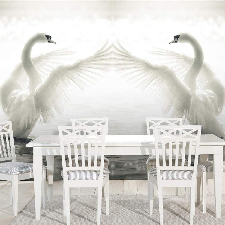 Lifme Romántico blancoo 3D Lago Cisne Naturaleza Paisaje Mural Papel Pintado Moderno Simple Sala Dormitorio Decoración Papel De Parojo, A-200X140Cm