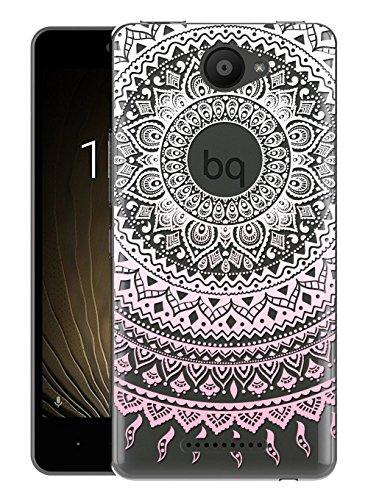 Sunrive Für BQ Aquaris U/U Lite Hülle Silikon, Transparent Handyhülle Schutzhülle Etui Hülle Backcover für BQ Aquaris U/U Lite(TPU Blume rosa)+Gratis Universal Eingabestift