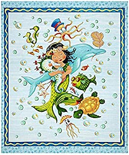 Mermaid Merriment Mermaid 36 inch Panel Blue Quilting Treasures