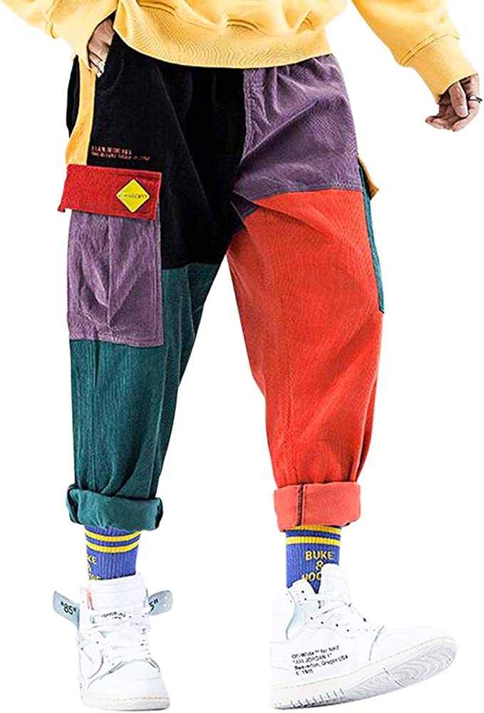 90s Outfits for Guys | Trendy, Party, Cool, Casaul Aelfric Eden Mens Color Patchwork Cargo Pants Hip hop Joggers Streetwear Pants  AT vintagedancer.com