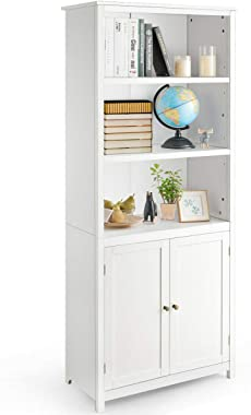 Tangkula Bookcase with Doors, 3 Tier Open Book Shelving, Standing Wooden Display Bookcase with Double Doors, Ideal for Home B