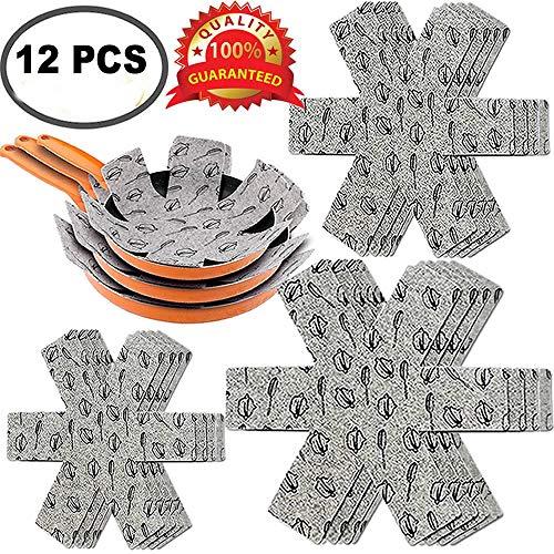 XUTONG - Protectores antiarañazos para ollas (12 unidades, fieltro, acolchados, separadores de alta calidad, separados y protegen las superficies de tus utensilios de cocina para evitar arañazos