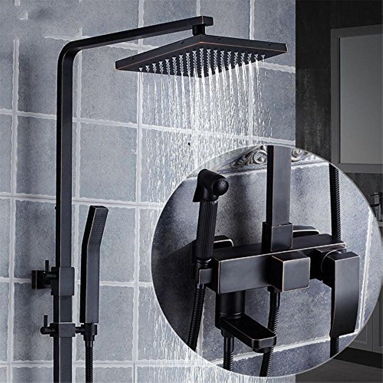 ETERNAL QUALITY Badezimmer Waschbecken Wasserhahn Messing Hahn Waschraum Mischer Mischbatterie schwarz Rain Dusche Wasserhahn verpackte Booster-Stil Badezimmer voll Kupfer
