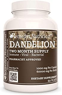 Dandelion Root Remedy's Nutrition MEGA Strength 1,000 mg per Capsule/60,000 mg per Bottle Vegan VCaps