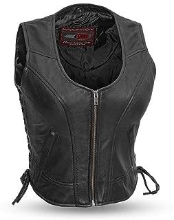 First Mfg Co FIL542GDD-S-BLK Black Small Motorcyle Leather Vest